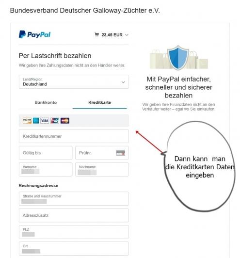 PayPal nach Klick auf Kreditkarte